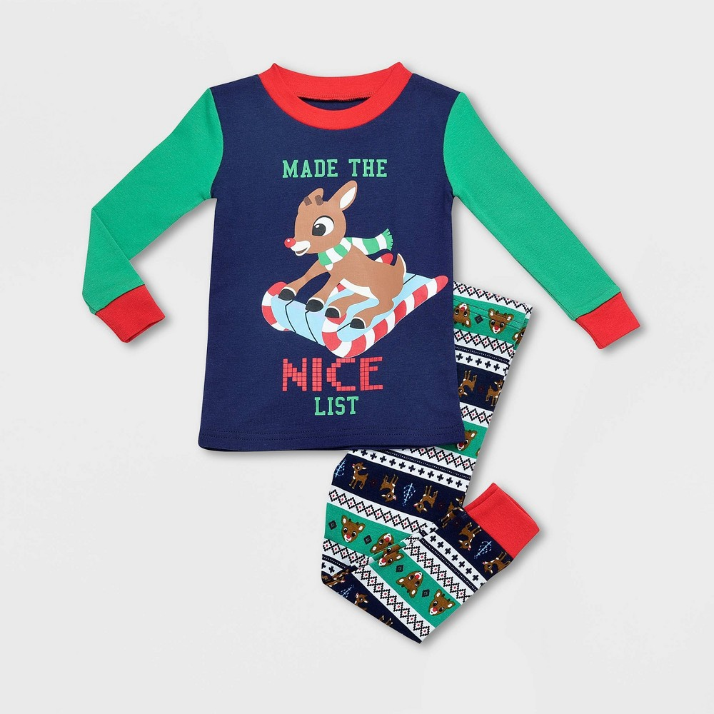 Toddler Boys 39 Rudolph The Red Nosed Reindeer 2pc Sledding Pajama Set Green 12m