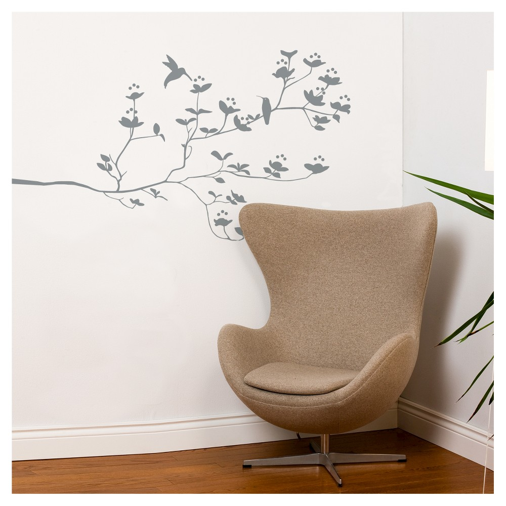 Image of Birds & Buds Wall Decal - Mild Gray