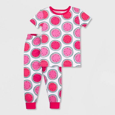 Lamaze Baby Girls' 2pc Organic Cotton Pajama Set - White/Orange/Pink