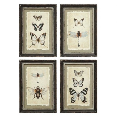 Framed Insect Wall Art Black/Cream 4pk - 3R Studios
