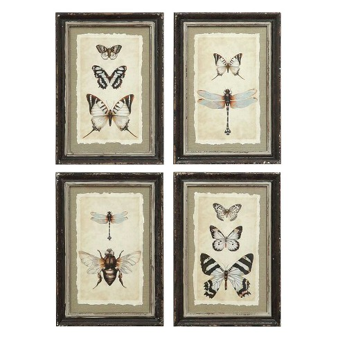 Framed Insect Wall Art Black/Cream 4pk - 3R Studios - image 1 of 1