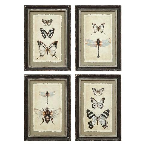 Framed Insect Wall Art Black/Cream 4pk - 3R Studios - image 1 of 3