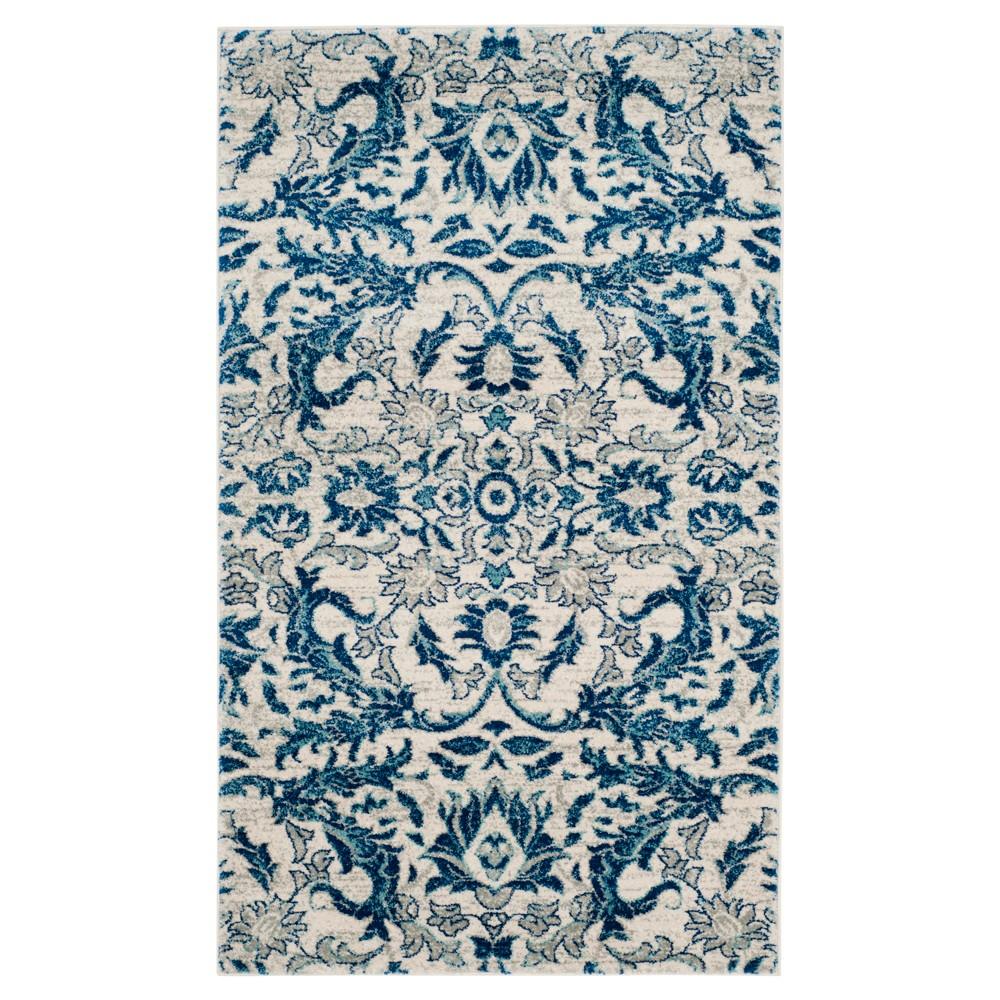 Evoke Rug Ivory Blue 4 X6 Safavieh