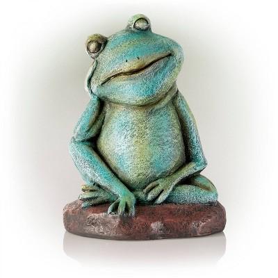 "Alpine 15"" Magnesium Oxide Pensive Frog Statue"