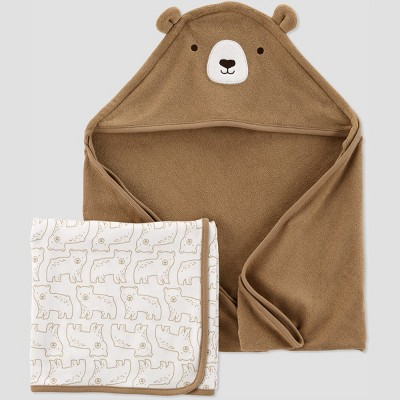 Baby Boys' Bear Bath Towel Set - Just One You® made by carter's Brown/White