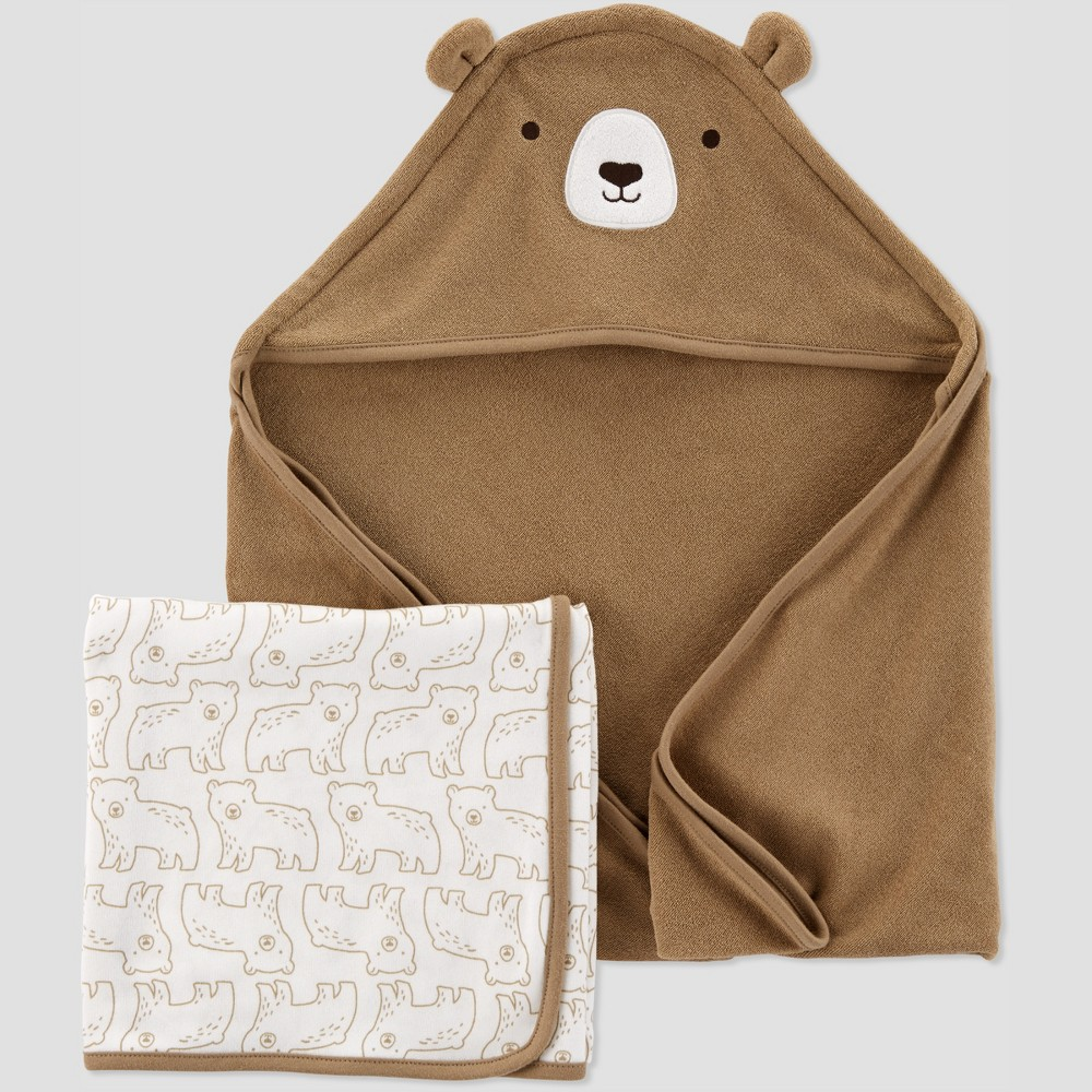 Image of Baby Boys' Bear Bath Towel Set - Just One You made by carter's Brown/White One Size
