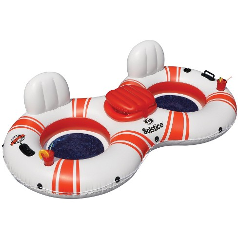 "Swim Central 88"" Inflatable White and Red Duo Swimming Pool Float with Cooler - image 1 of 4"