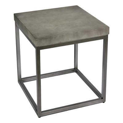Wallace & Bay Onyx 22 Inch Modern Slate Gray Concrete Top Square Accent Side End Table with Reliable Metal Legs for Household Essentials
