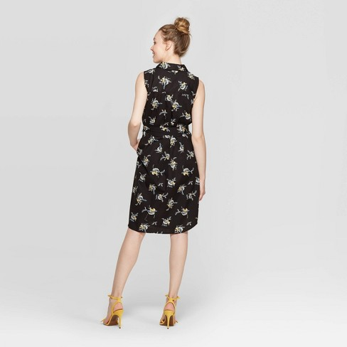 522fd65a6b0d Women's Floral Print Sleeveless Front Button-Down Shirtdress - Who What  Wear™ Black