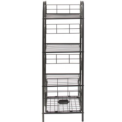 Lakeside 3-Tier Metal Storage Basket Shelf Rack for Home Storage