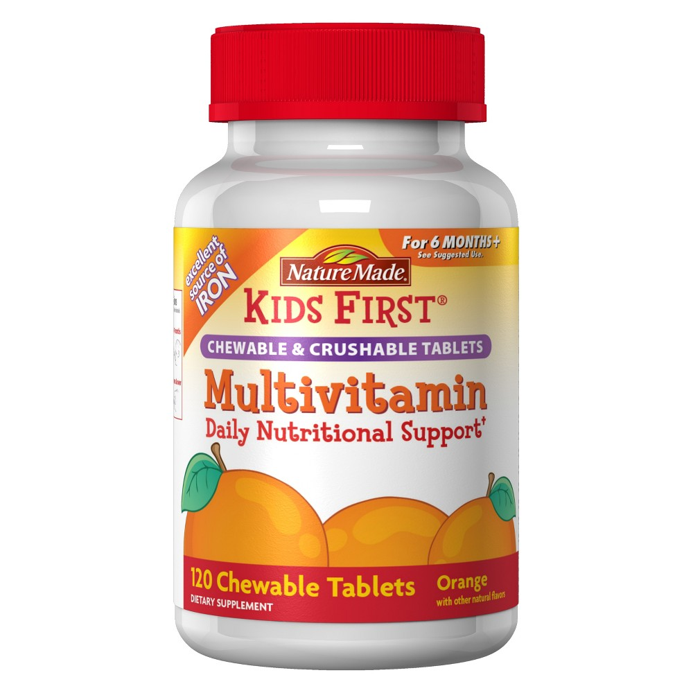 Nature Made Kid's First Multivitamin with Iron Chewable & Crushable Tablets - Orange - 120ct