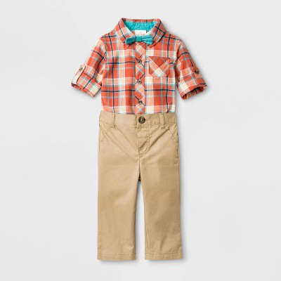 Baby Boys' 3pc Plaid Top, Woven Bowtie and Twill Pants Set - Cat & Jack™ Brown/Red 3-6M
