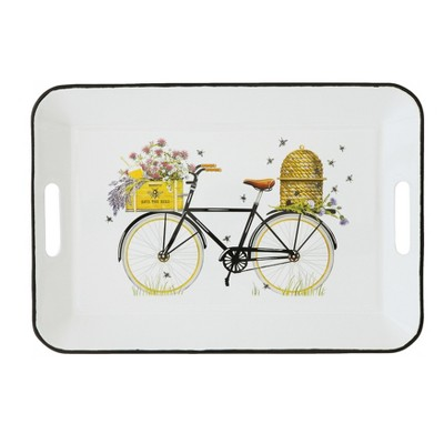 "16.2"" x 11.2"" Bicycle Metal Serving Tray White/Yellow - 3R Studios"