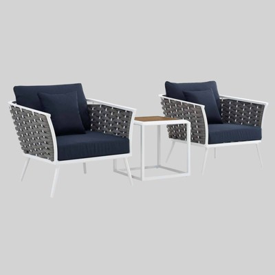 Stance 3pc Outdoor Patio Aluminum Sectional Sofa Set - Modway