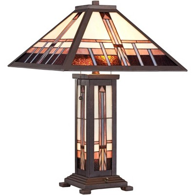 Robert Louis Tiffany Art Deco Table Lamp with Nightlight Bronze Stained Glass Shade for Living Room Family Bedroom Nightstand