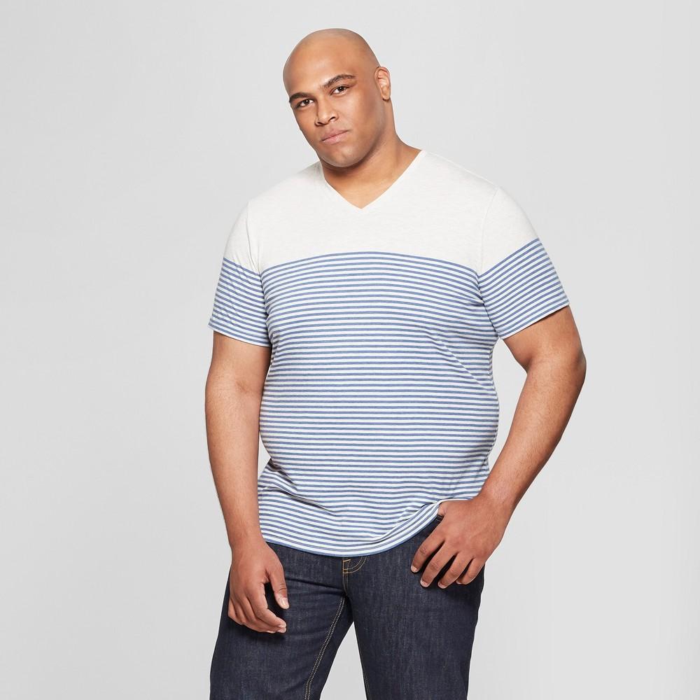 Low Price Men Big Tall Striped Standard Fit Short Sleeve V Neck T Shirt Goodfellow Co Riviera Blue 2XB