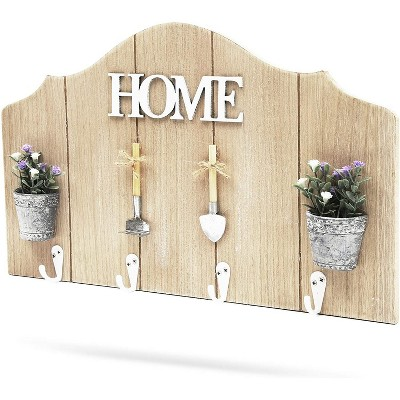 Juvale Rustic White Wooden Wall Mounted Coat Rack with 4 Hooks for Home Decor (15.5 x 9 In)