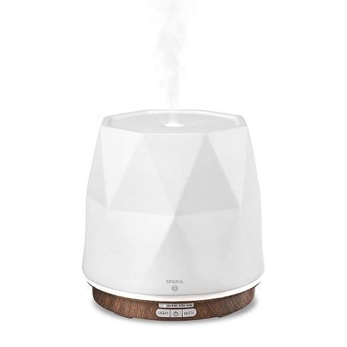 Sparia Stylish 300ml Ceramic Ultrasonic Aromatherapy Electric Essential Oils Diffuser, Matte White with Wood Grain Pattern Base - image 1 of 4