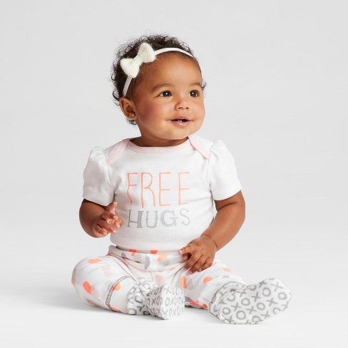 Baby Girls' 4pk Short Sleeve Bodysuit White/Gray - Cloud Island™ - image 1 of 3