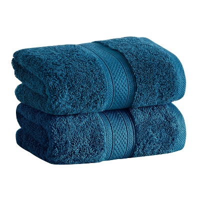 2pk Low Twist Hand Towel Set with Enhanced Microban Blue - Cannon