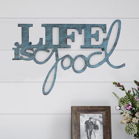 """Life Is Good"" Decorative Wall Metal Cutout Sign Teal Nights - Lavish Home - image 1 of 3"