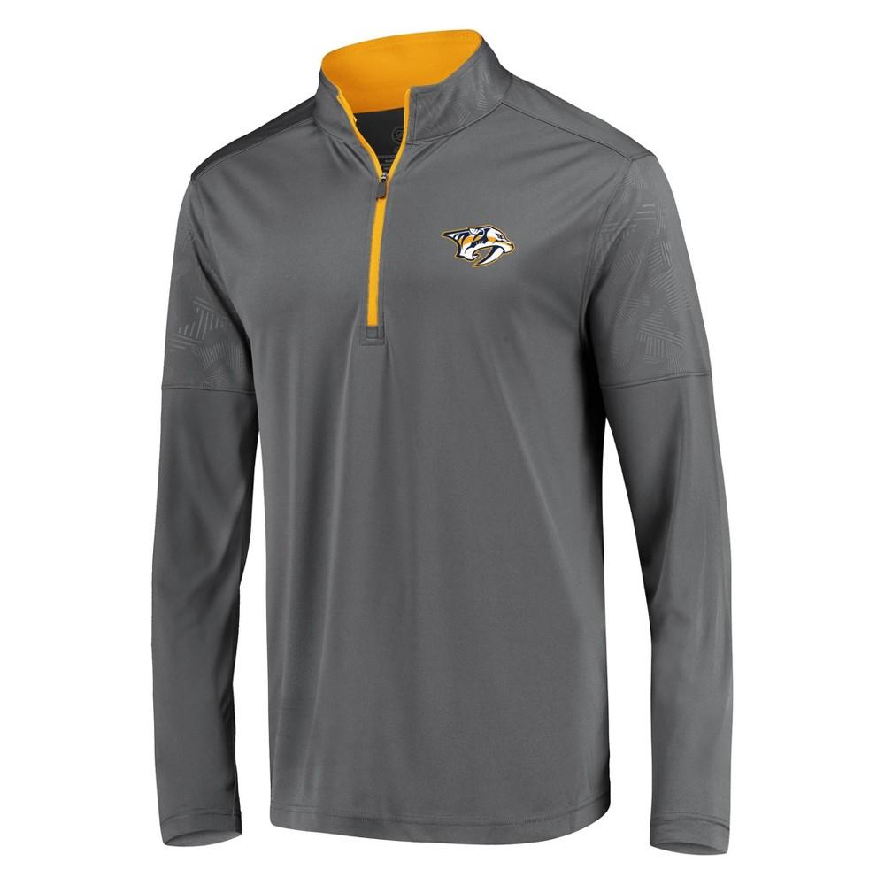 Nhl Nashville Predators Men 39 S Defender Embossed 1 4 Zip Sweatshirt Gray M