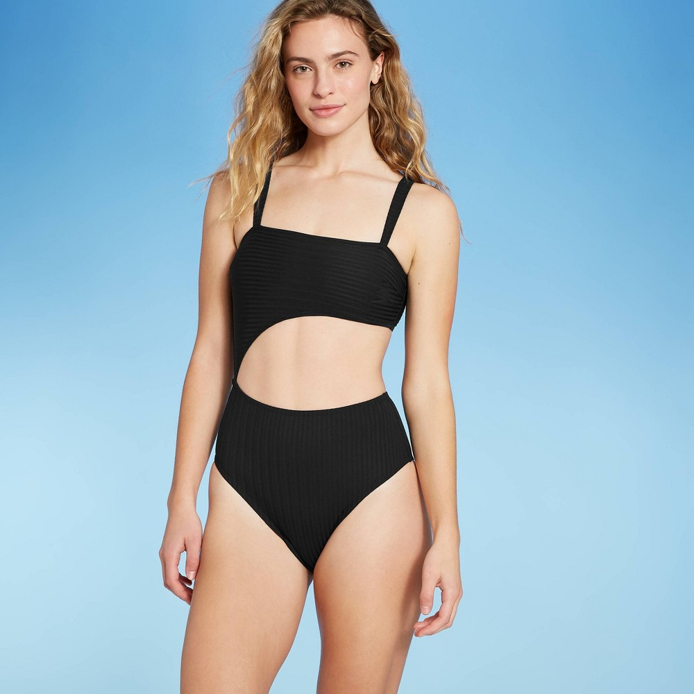 Women 39 S Ribbed Cut Out One Piece Swimsuit Shade 38 Shore 8482 Black Xl