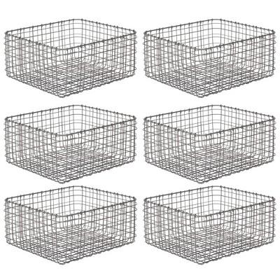 mDesign Metal Wire Food Organizer Storage Bins, 6 Pack