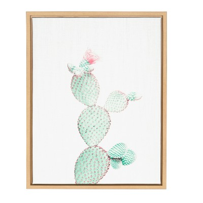 """18"""" x 24"""" Sylvie Prickly Pear Framed Canvas by Simon Te Tai Natural - Kate and Laurel"""