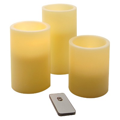 3ct Wax LED Remote Control Flickering Round Candles
