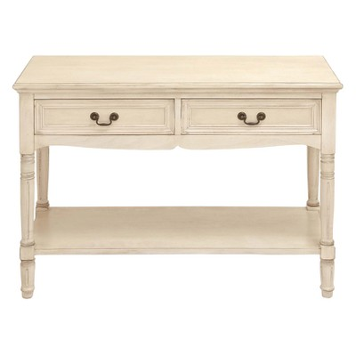 Marvelous Wood Traditional 2 Drawer Console Table Antique Ivory   Olivia U0026 May