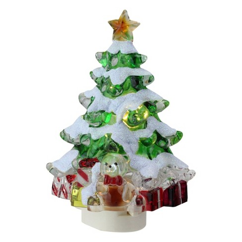 White Christmas Tree With Lights.Roman 5 25 Snowy Christmas Tree With Presents Christmas Night Light Green White