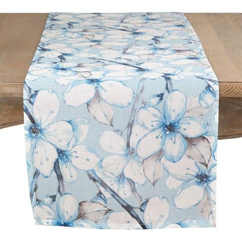 "Saro Lifestyle 72""X15"" Dewy Blooms Watercolor Table Runner Blue - image 1 of 2"