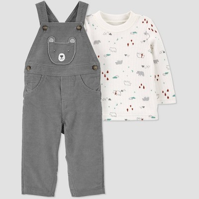 Baby Boys' 2pc Bear Overall Top & Bottom Set - Just One You® made by carter's Gray 6M