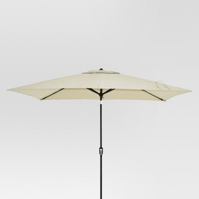 6.5' x 10' Rectangle Patio Umbrella Tan - Black Pole - Threshold™