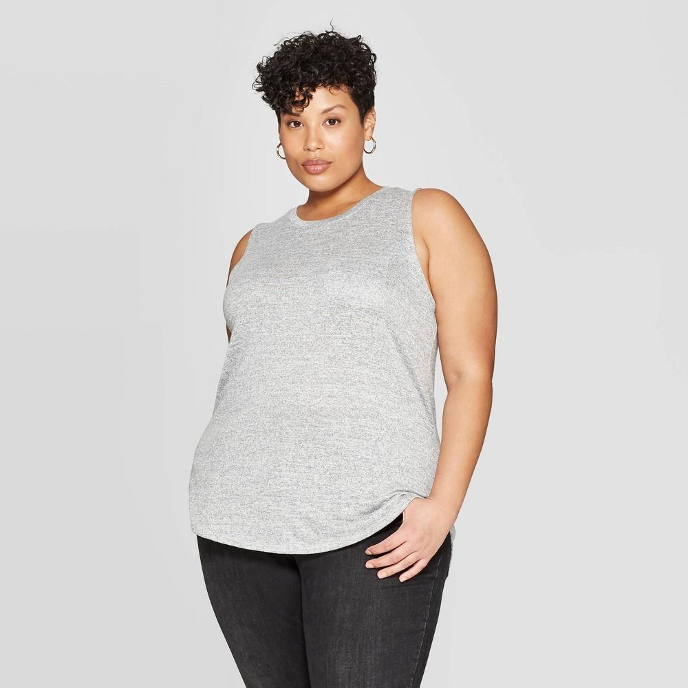 Womens Plus Size Crewneck Pocket Tank Top Ava Viv Gray 4x