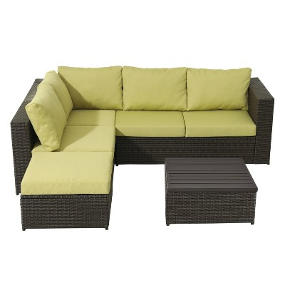 4pc Wicker Rattan Patio Sofa Set with Green Cushions - Accent Furniture
