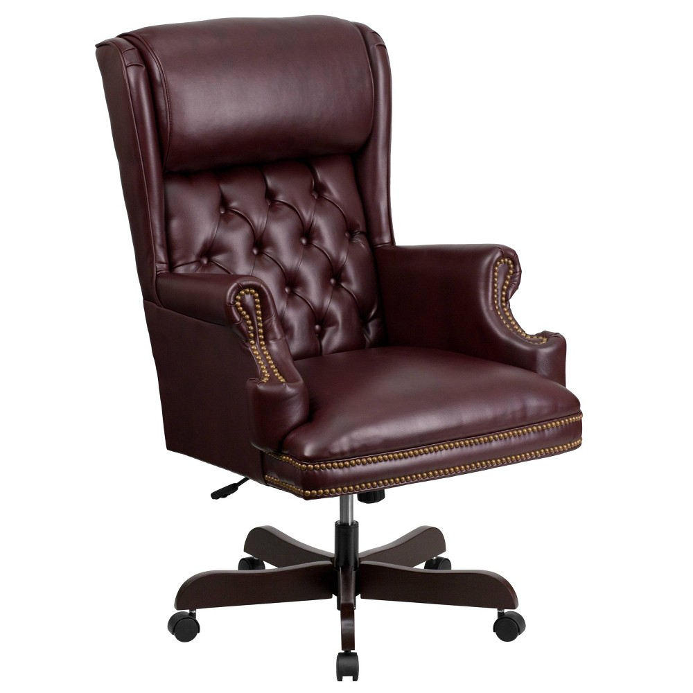 Executive Swivel Office Chair Burgundy (Red) Leather - Flash Furniture
