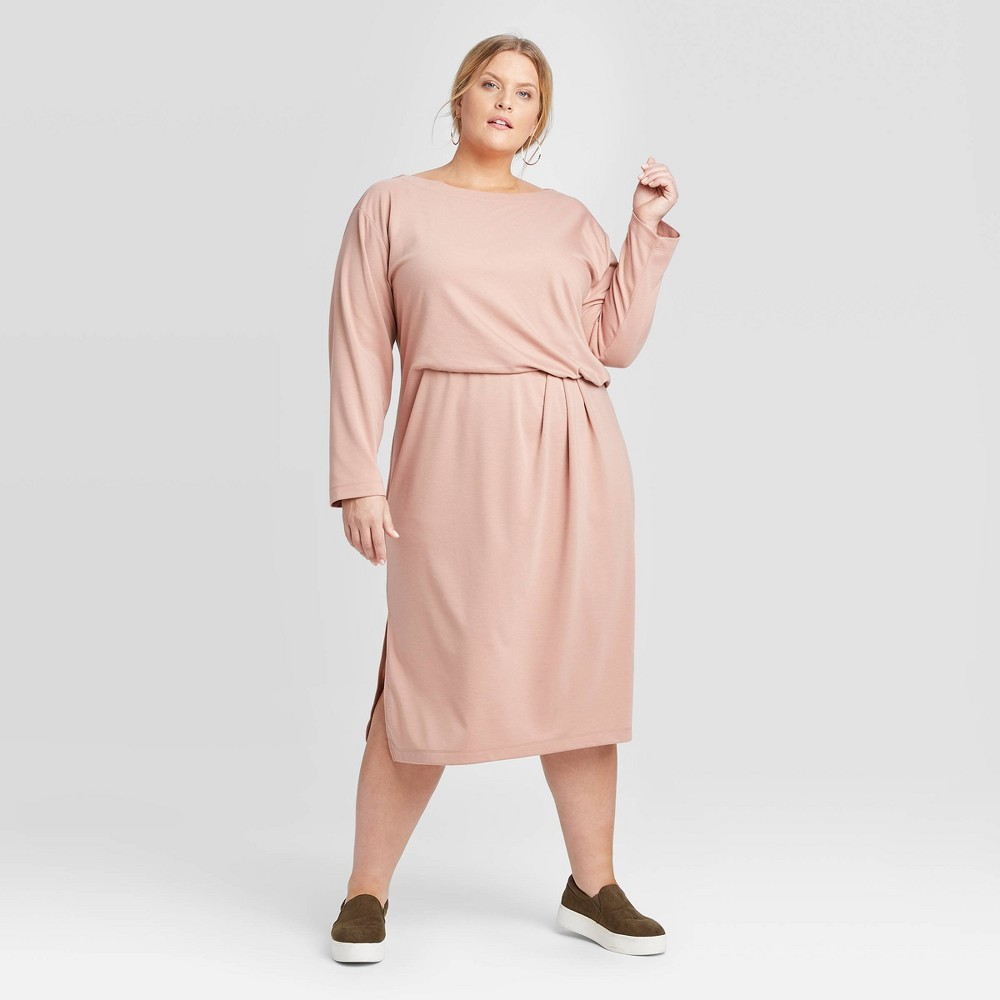 Women's Plus Size Long Sleeve Tucked Jersey Dress - Prologue Blush 1X, Pink was $29.99 now $20.99 (30.0% off)