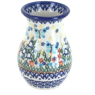 Blue Rose Polish Pottery Garden of Eden Vase