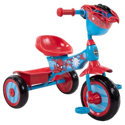 Huffy Marvel Spiderman 3 Wheel Preschool Training Tricycle with Steel Frame, Storage Basket, Plastic Pedals, and Handlebar Grips for Toddlers, Red