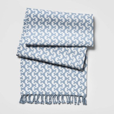 Block Print Table Runner Blue - Threshold™