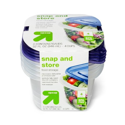 Snap And Store Medium Square Food Storage Container - 4ct/32 fl oz - Up&Up™