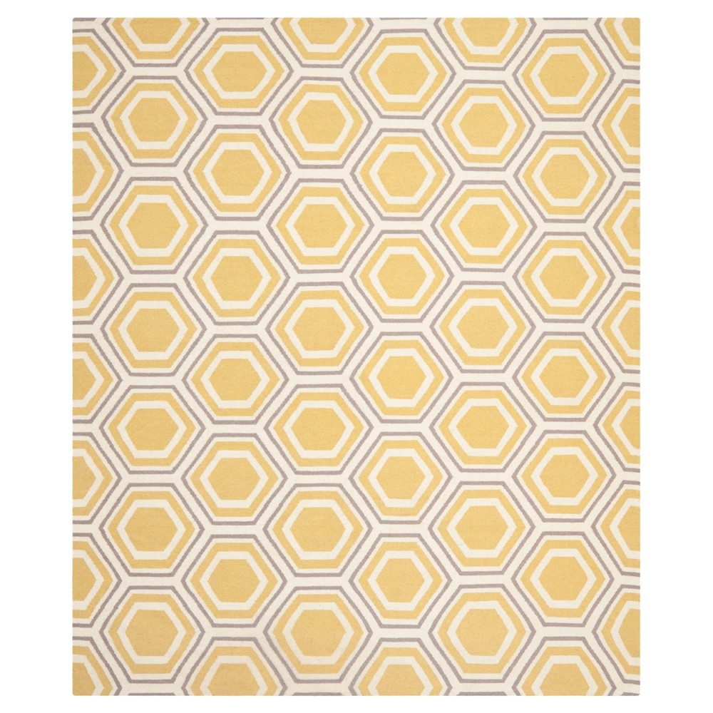 Ivory/Yellow Abstract Woven Area Rug - (9'x12') - Safavieh, White