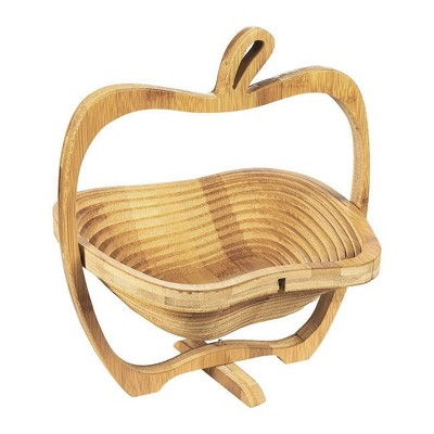 Juvale Apple Design Collapsible Bamboo Fruit Basket Bowl, Brown, 10.5 x 11.7 x 8.7 inches