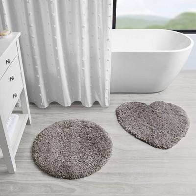 2pc Set Madeline Tufted Solid Bath Rug Gray