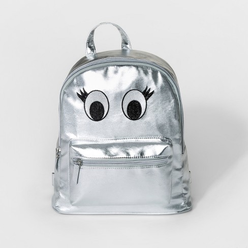 Girls' Dome Mini Backpack with Eyes - Cat & Jack™ Silver - image 1 of 3
