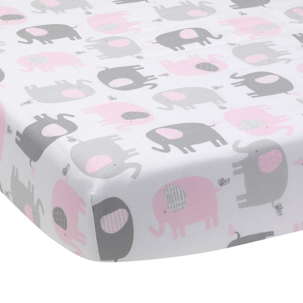 Image of Bedtime Originals Baby Fitted Crib Sheet - Eloise Elephant