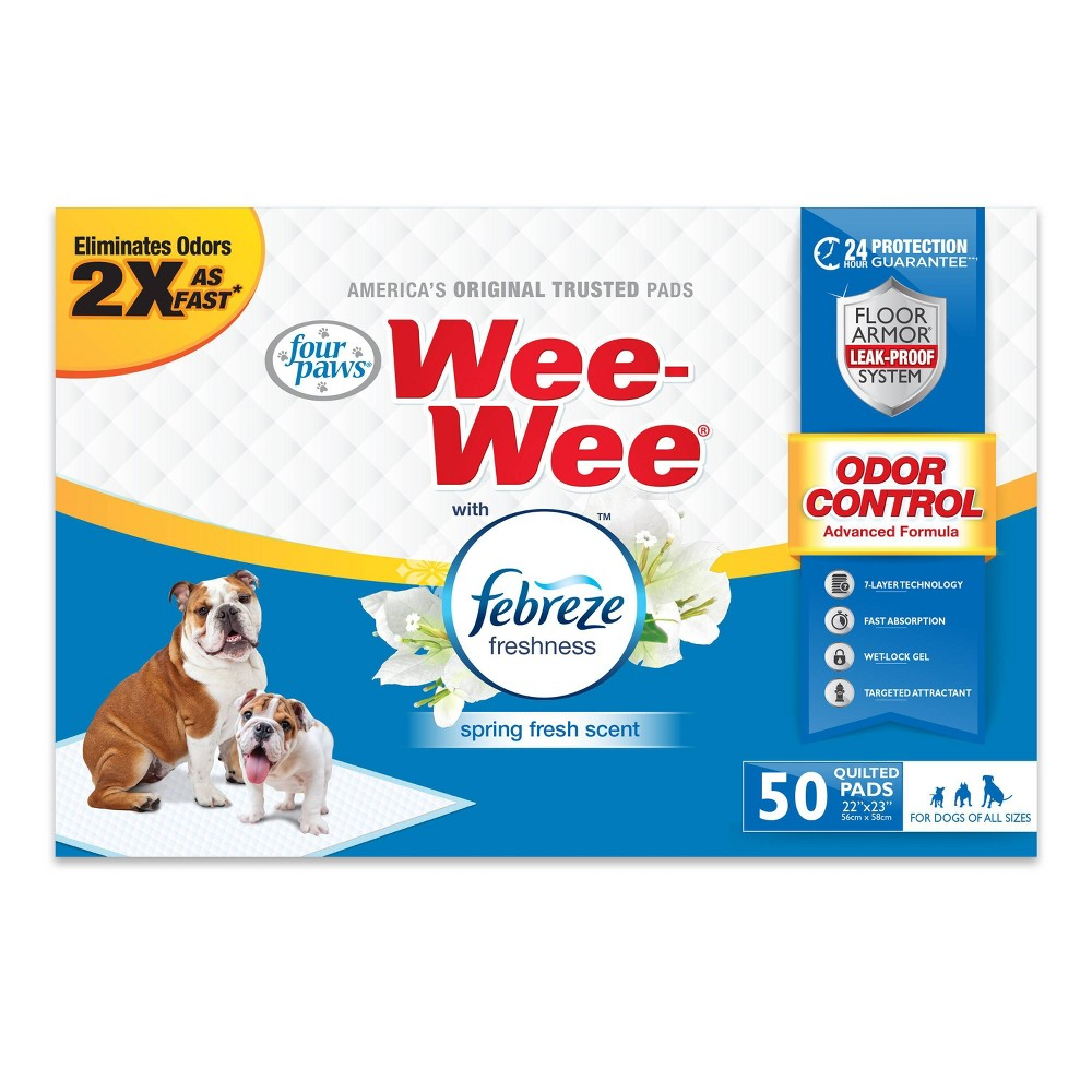 Four Paws Wee Wee Odor Control With Febreze Freshness Dog Pads 50ct