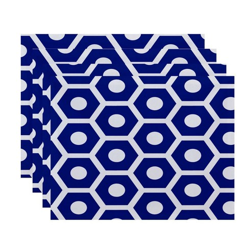 Set of 4 Classic Navy Honeycomb Placemat - E by design - image 1 of 1